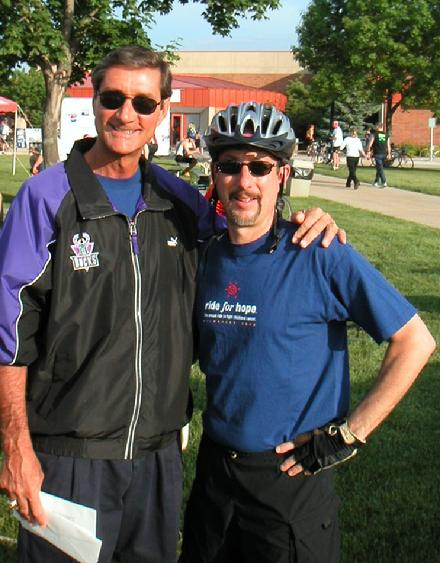 Paul Henning at the 2002 ride with MACC Fund co-founder and former NBA star Jon McGlockin