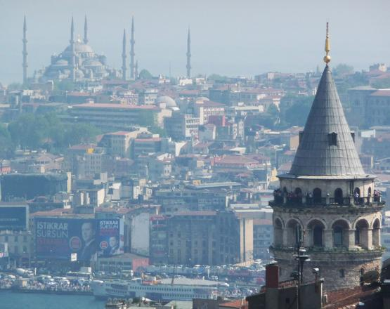 View from the New City towards the Old City of Istanbul, Turkey